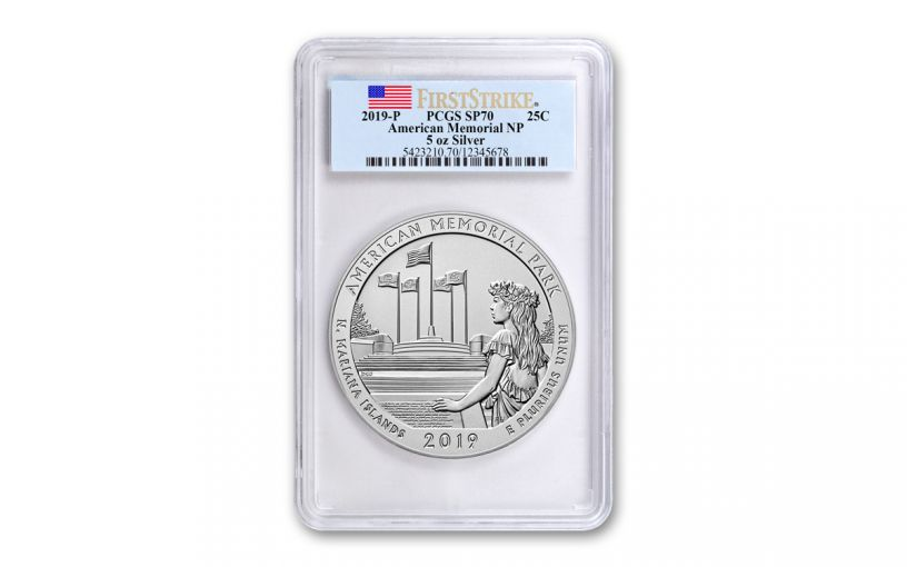 2019 America the Beautiful 5-oz Silver Quarter American Memorial Park PCGS SP70 First Strike
