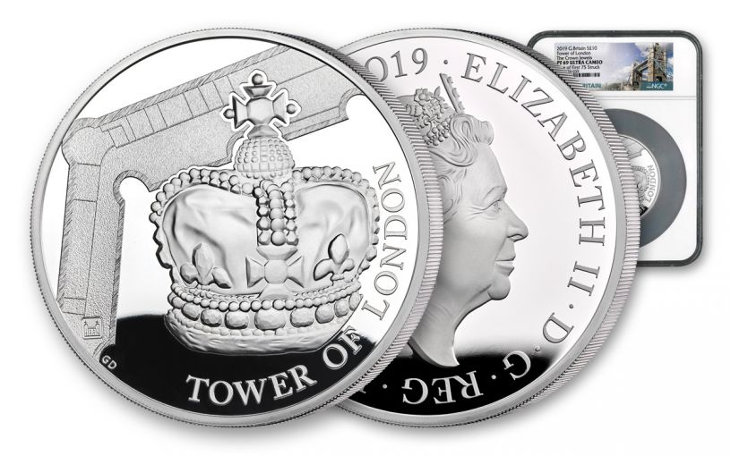 2019 Great Britain £10 5-oz Silver Tower of London Crown Jewels Proof NGC PF69UC First Struck