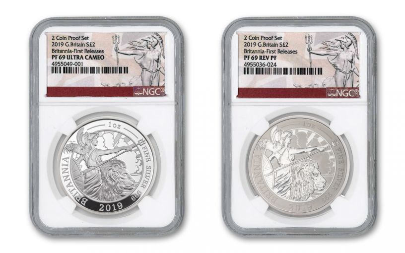 2019 Great Britain £2 1-oz Silver Britannia Proof & Reverse Proof 2-Piece Set NGC PF69UC First Releases