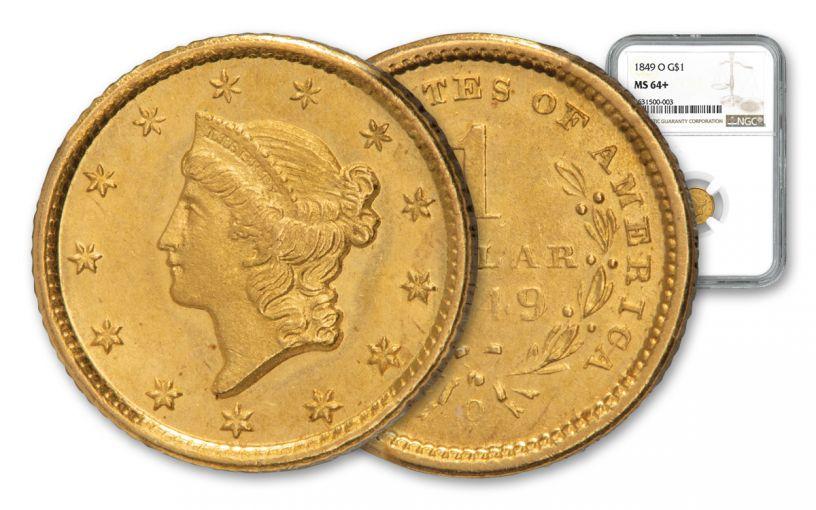 1849-O $1 LIBERTY NGC MS64+