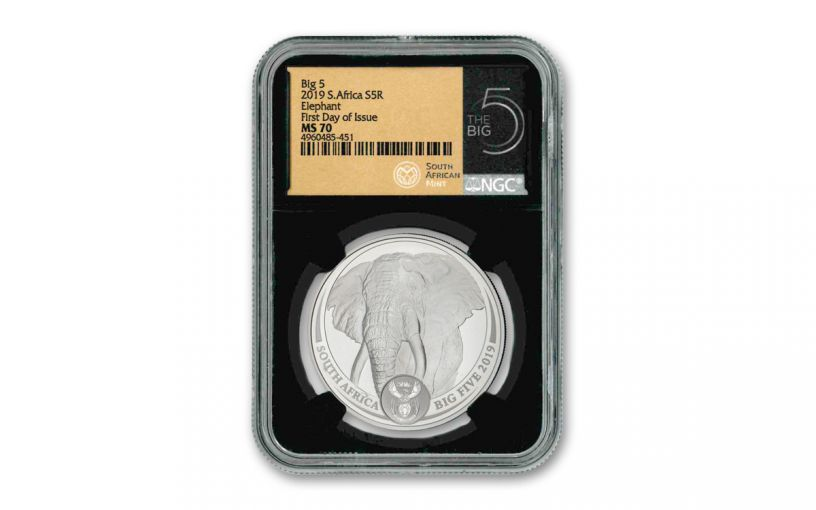 2019 South Africa 1-oz Silver Big 5 Elephant NGC MS70 First Day of Issue - Black Core, Big 5 Label