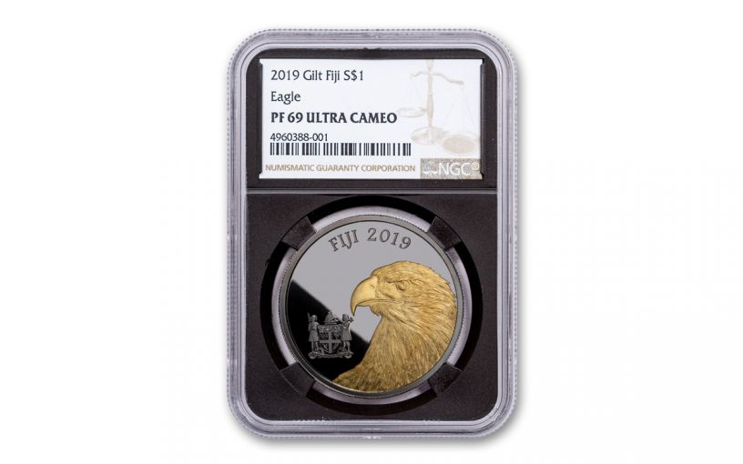 2019 Fiji $1 1-oz Silver Eagle with Black Ruthenium & Gold  NGC PF69UC – Black Core