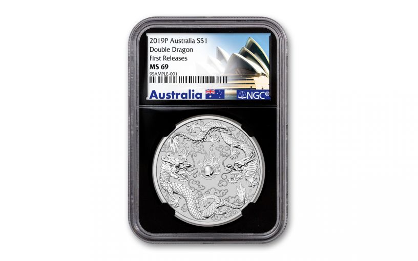 2019 Australia $1 1-oz Silver Double Dragon NGC MS69 First Releases - Black Core, Opera House Label