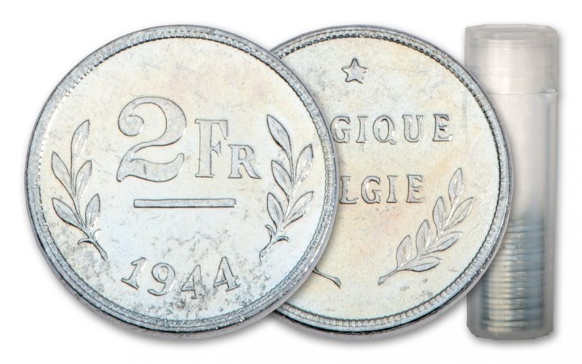 1944 Belgium 2 Francs Zinc Coated Steel 20-Coin Roll