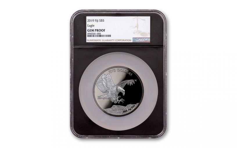 2019 Fiji $5 5-oz Silver Eagle with Black Ruthenium NGC Gem Proof – Black Core