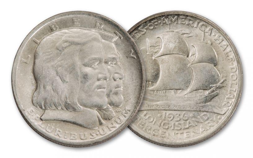 1936-P 50 Cents Silver Long Island Tercentenary Commemorative BU