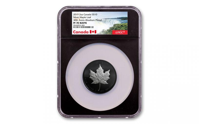 2019 Canada $10 2-oz Silver Maple Leaf Black Proof NGC PF70 Matte - Black Core
