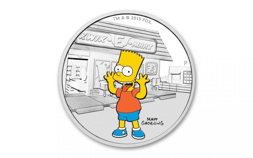 2019 Tuvalu $1 1-oz Silver Bart Simpson™ Proof