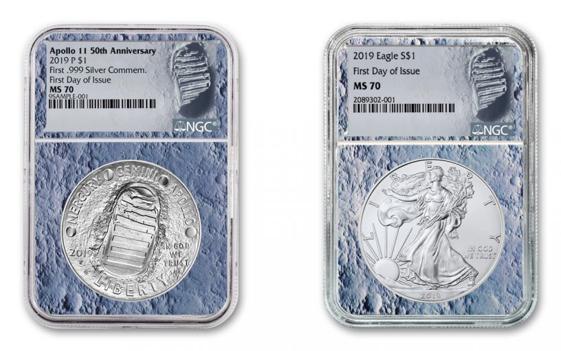 2019 $1 1-oz Silver American Eagle & Apollo 11 Commemorative 2-Piece Set NGC MS70 First Day of Issue - Moon Core, Astronaut Footprint Label