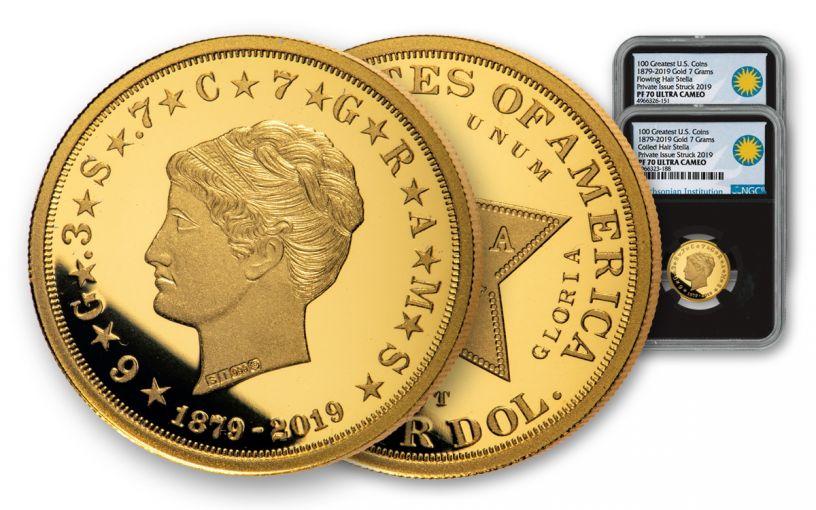 1879-2019 $4 Gold Stella 2-pc Proof Set NGC PF70UC w/Black Core & Smithsonian Label