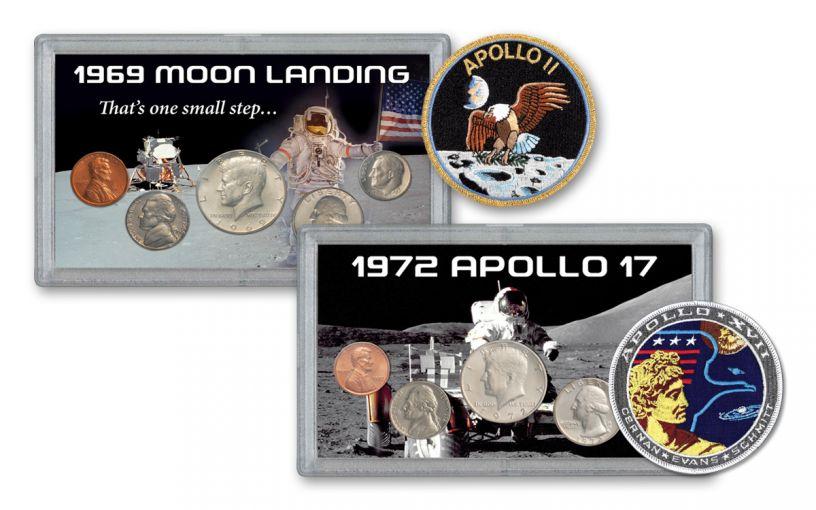 1969 & 1972 Moon Landing 10-Coin Set BU w/Bonus Mission Patches