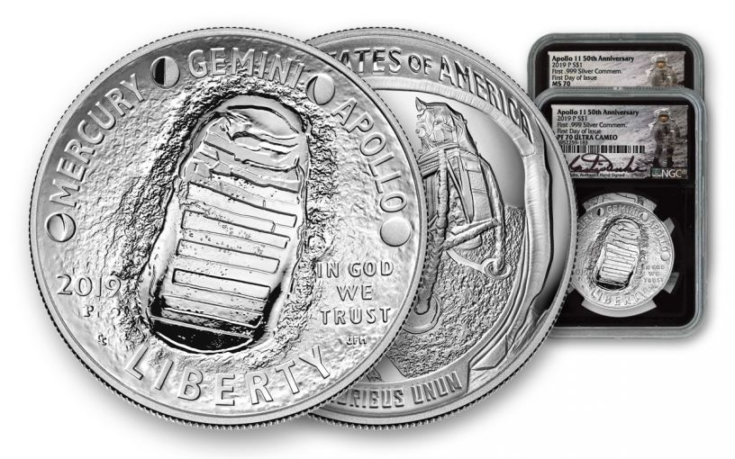2019-P Apollo 11 $1 Silver 50th Anniversary Commemorative Dollar NGC MS70/PF70UC First Day of Issue 2-pc Set w/Black Display Core & Charlie Duke Signed Label