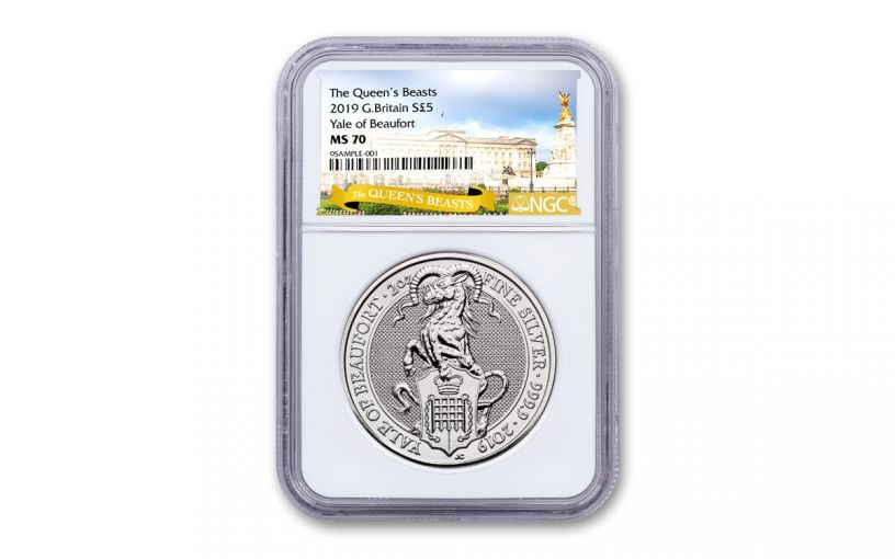 2019 Great Britain 2-oz Silver Queen's Beasts Yale of Beaufort NGC MS70