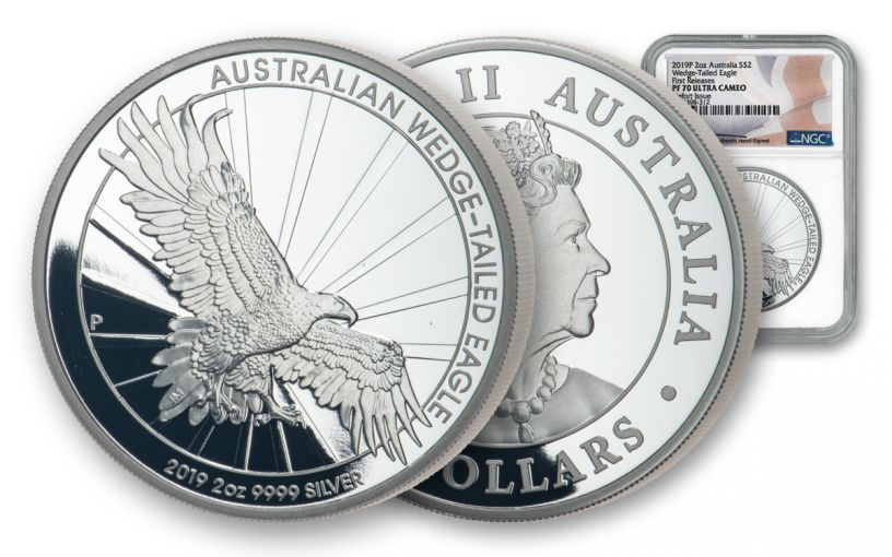 2019 Australia $2 2-oz Silver Wedge Tailed Eagle High Relief Piedfort NGC PF69UC First Releases Mercanti Signed