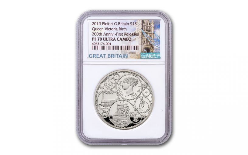 2019 Great Britain £5 Silver Queen Victoria 200th Anniversary Piedfort Proof NGC PF70UC First Releases