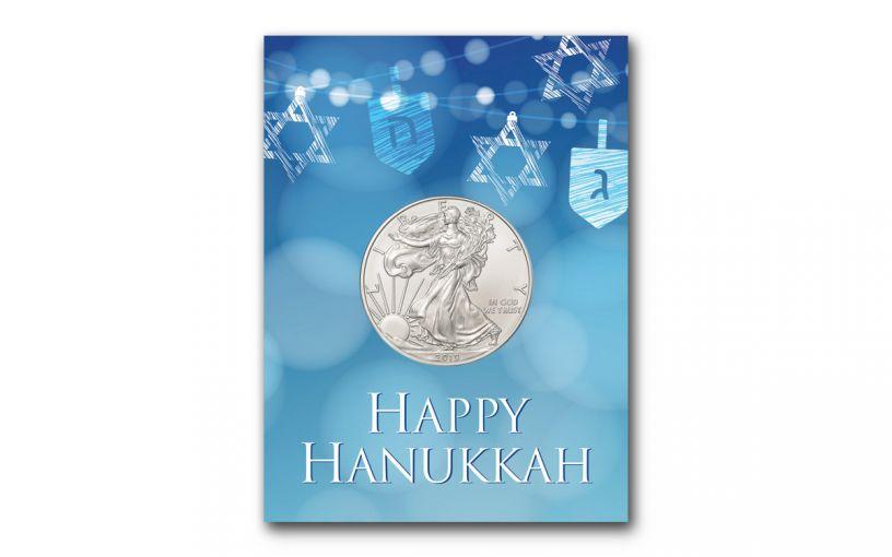2019 1 Dollar 1-oz American Silver Eagle BU Happy Hanukkah Card