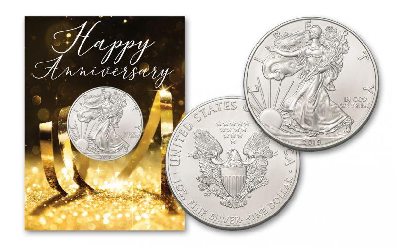 2019 1 Dollar 1-oz American Silver Eagle BU Happy Anniversary Card