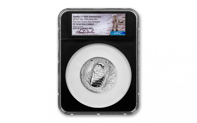 2019-P $1 5-oz Silver Apollo 11 50th Anniversary Proof NGC PF70 First Release w/Black Core & Charlie Duke Signature