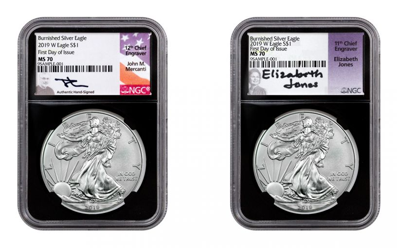 2019-W $1 1-oz Silver Burnished American Eagle 2-Piece Set NGC MS70 First Day of Issue – Mercanti/Jones Signed Labels