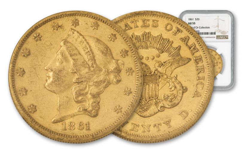 1861-P $20 Gold Liberty NGC AU55 Rive d'Or Hoard
