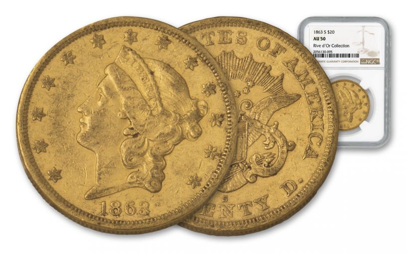 1863-S $20 Gold Liberty NGC AU50 Rive d'Or Hoard