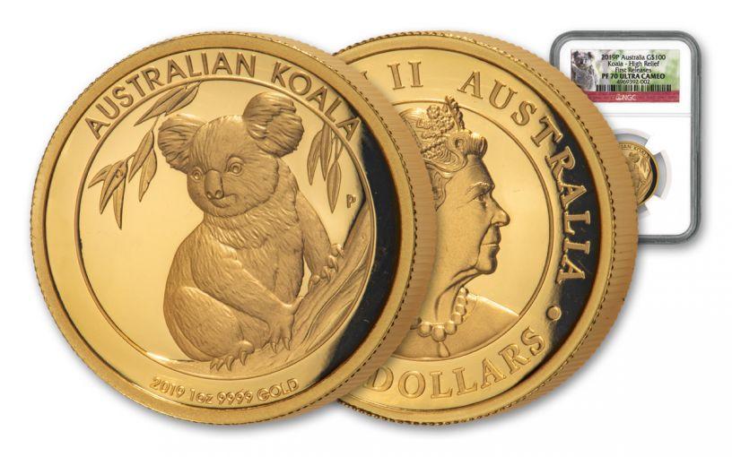2019 Australia $100 1-oz Gold Koala High Relief NGC PF70UC First Releases w/ Koala Label