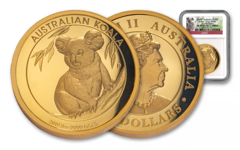 2019 Australia $200 2-oz Gold Koala High Relief NGC PF70UC First Releases w/ Koala Label