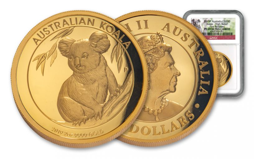 AUS 2019 $200 2-OZ GOLD KOALA HR NGC PF69UC FR