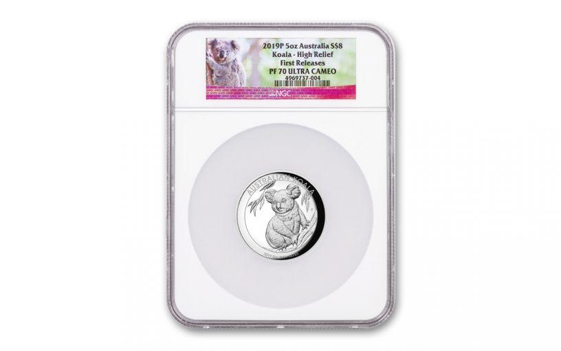 2019 Australia $8 5-oz Silver Koala High Relief NGC PF70UC First Releases w/Koala Label