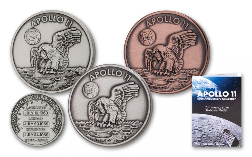 1969–2019 Apollo 11 Robbins Medal Commemorative 3-pc Set Antiqued