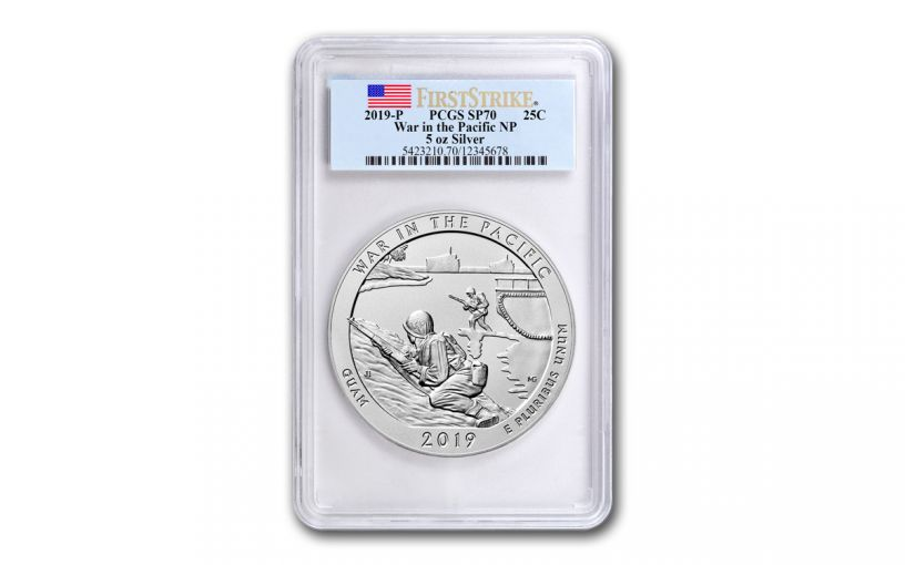 2019 5-oz Silver America the Beautiful – War in the Pacific National Historical Park Specimen PCGS SP70 First Strike w/Flag Label