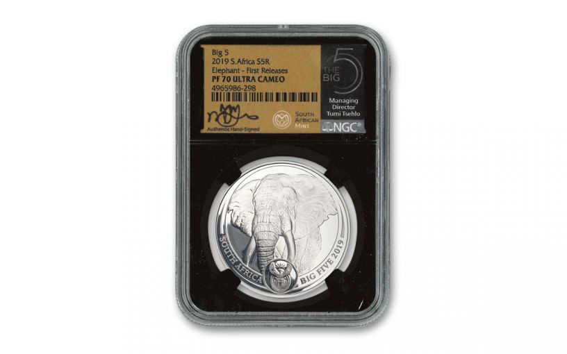 2019 South Africa 1-oz Silver Big 5 Elephant NGC PF70UC First Releases w/Tumi Signature