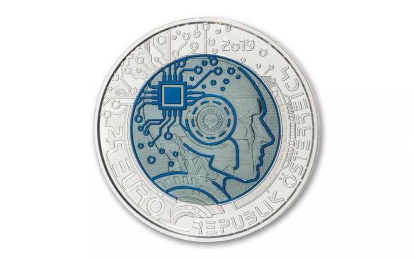 2019 Austria €25 Silver-Niobium Artificial Intelligence Colorized Coin Gem BU