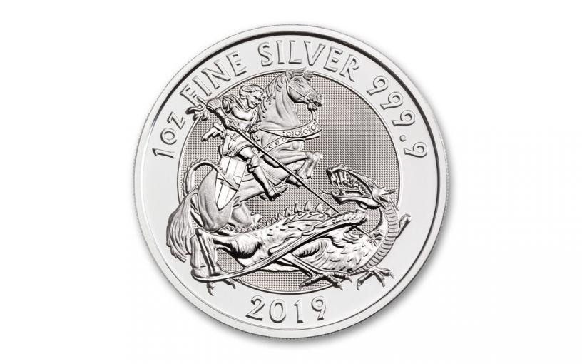 2019 Great Britain £2 1-oz Silver Valiant Saint George Incuse BU