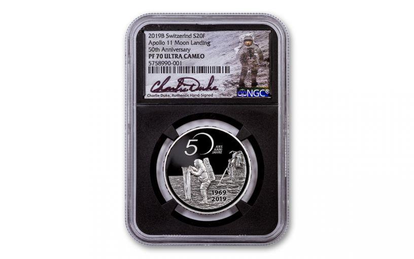 2019 Switzerland 20 Francs 20-gm Silver Apollo 11 50th Anniversary Proof NGC PF70 w/Black Core & Charlie Duke Signature