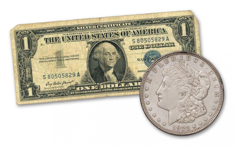1921 $1 Silver Morgan & 1957 $1 Silver Certificate 2-pc Set XF & VF