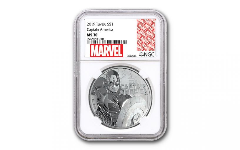2019 Tuvalu $1 1-oz Silver Captain America NGC MS70 w/Marvel Label