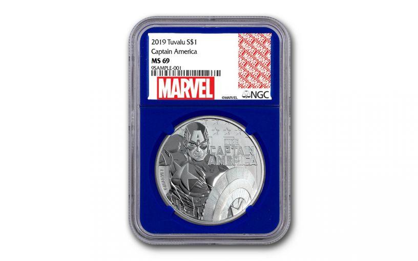 2019 Tuvalu $1 1-oz Silver Captain America NGC MS69 w/Blue Core & Marvel Label