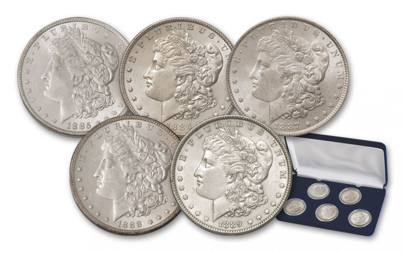 1885–1889-P Morgan Silver Dollar 5-Coin Set BU