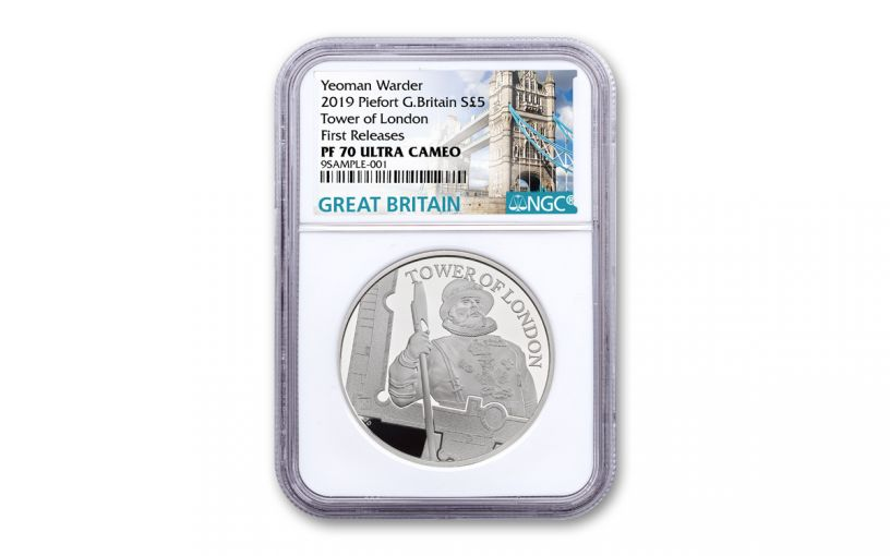 2019 Great Britain £5 Silver Tower of London Yeoman Warders Piedfort NGC PF70 First Releases