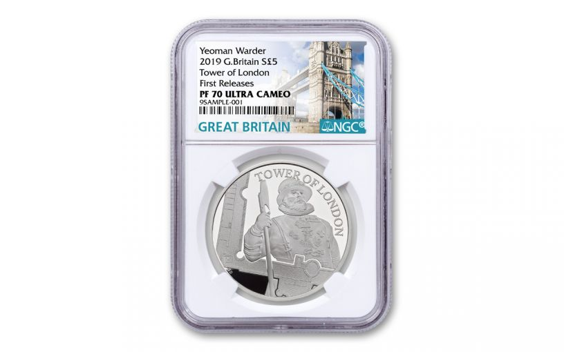 2019 Great Britain £5 Silver Tower of London Yeoman Warders NGC PF70 First Releases