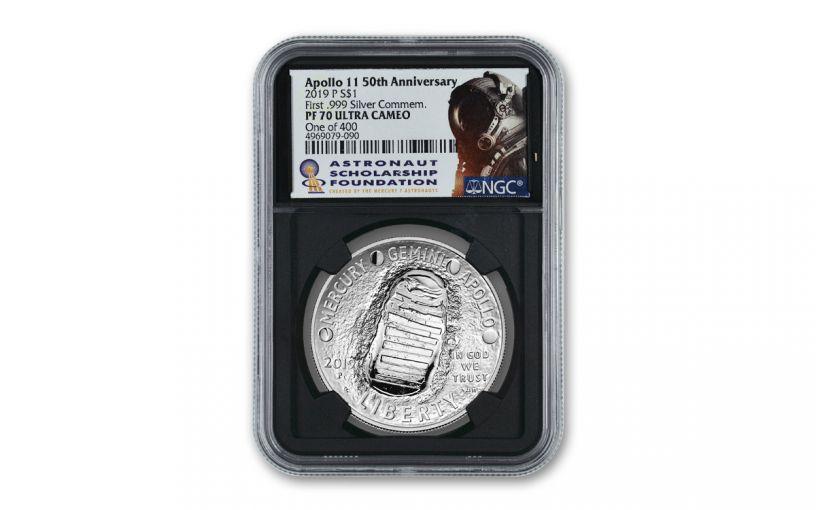 """2019-P $1 Silver Apollo 11 50th Anniversary Commemorative NGC PF70 w/ASF Label & Bobko Signature """"One of 400"""""""