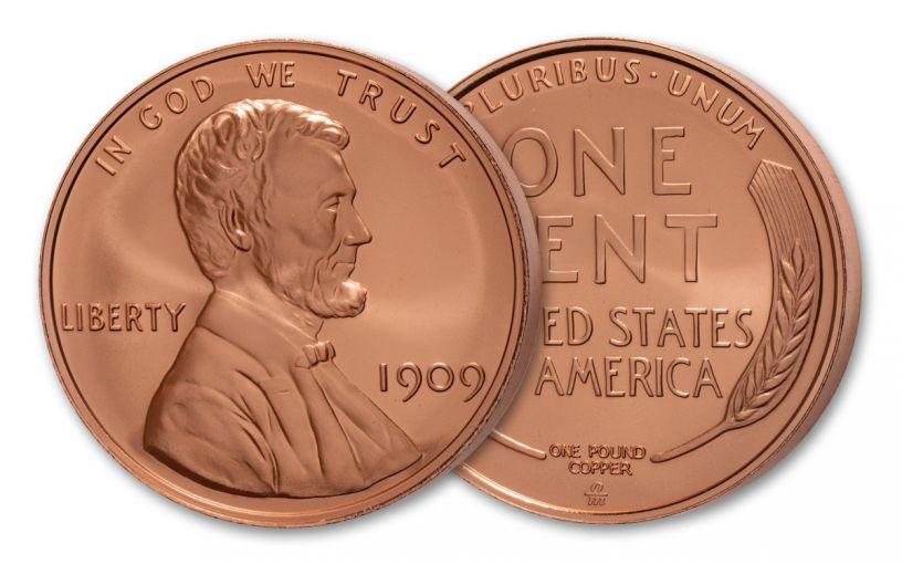 One-Pound Copper 1909 Lincoln Wheat Cent Replica Cameo