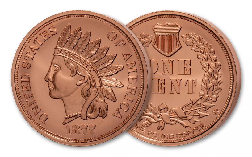 One-Pound Copper 1877 Indian Head Cent Replica Cameo