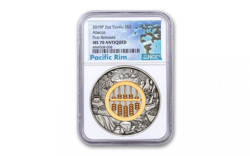 2019 Tuvalu $2 2-oz Silver Abacus Antiqued Coin NGC MS70 First Releases w/Pacific Label