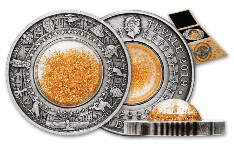 2019 Tuvalu $2 2-oz Silver Golden Treasures of Ancient Egypt Antiqued Coin