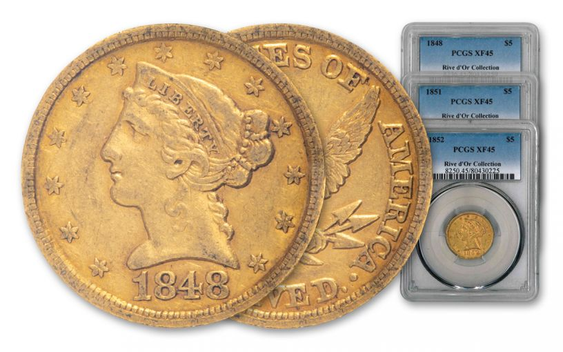 1848-1852 $5 Gold Liberty No Motto 3-Coin Set PCGS XF45 Rive d'Or
