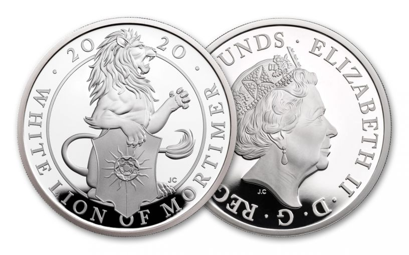 2020 Great Britain £2 1-oz Silver Queen's Beasts White Lion of Mortimer Proof