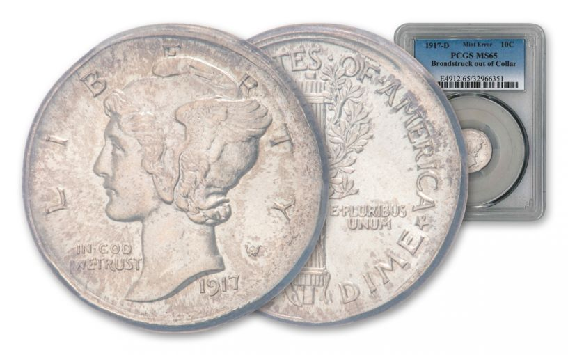 1917-D Mercury Dime Error Broadstruck Out of Collar PCGS MS65