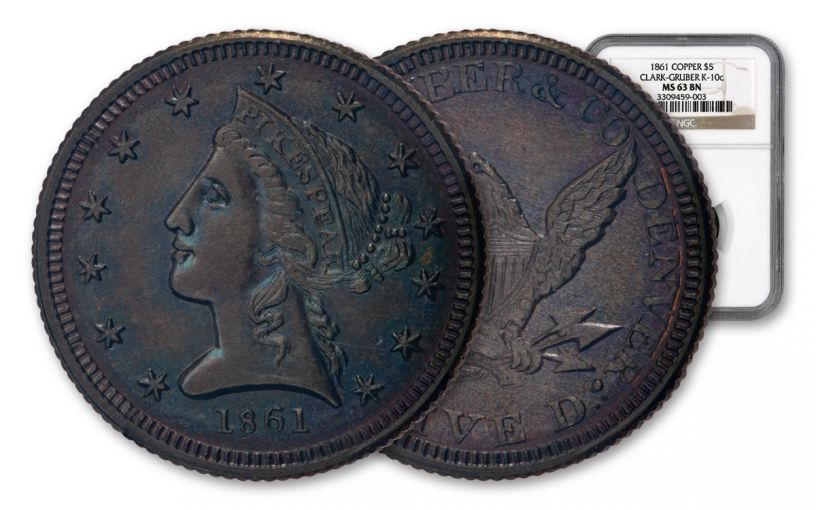 1861 $5 Copper Clark-Gruber K-10c NGC MS63 BN